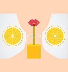 cartoon style girl drinking orange juice vector image