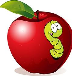 Cartoon worm in red apple vector