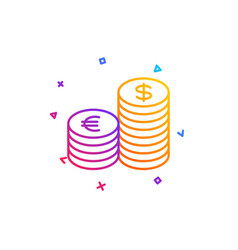 coins money line icon banking currency vector image