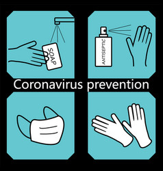 coronavirus disease prevention outline icons vector image