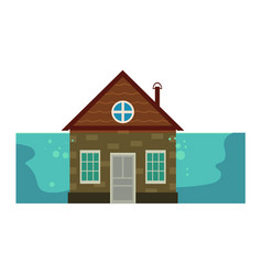 cottage house under water flood insurance icon vector image