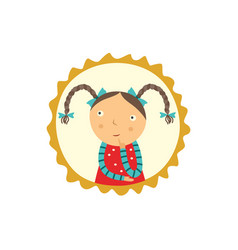 Cute curious little girl with pigtails hairstyles vector