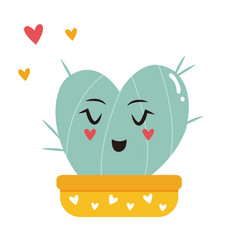 Cute heart-cactus in a pot vector
