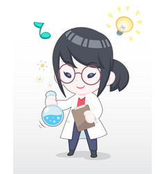 cute style happy scientist girl vector image