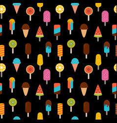 cute summer seamless pattern with ice cream on vector image