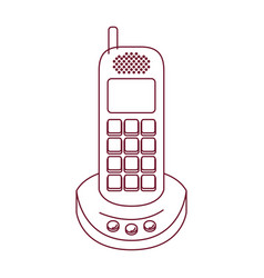 dark red line contour of cordless phone vector image