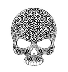 day of the dead skull skull sugar flower skull vector image