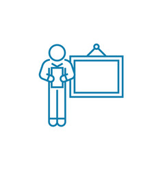 delivering a presentation linear icon concept vector image