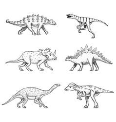 Dinosaurs set triceratops barosaurus broad vector