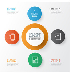 E-commerce icons set collection of spiral vector
