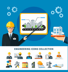 Engineering pictograms collection background vector