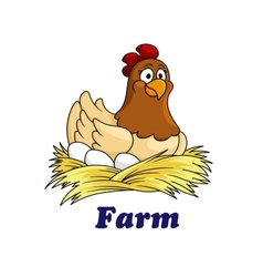 Farm emblem with a hen sitting on eggs vector image
