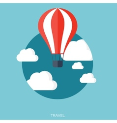 Flat air balloon with clouds web icon vector image