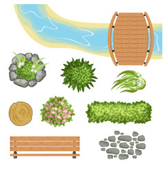 Flat set of landscape elements wooden vector