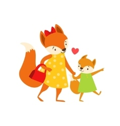 Fox Mom In Dress With Handbag Animal Parent And vector image