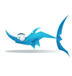 funny cute cartoon characters shark vector image