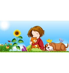 Girl and pets in the garden vector