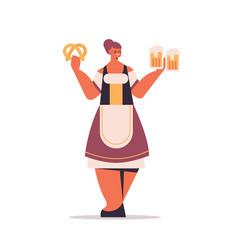 Girl waitress holding salty pretzel and beer mugs vector