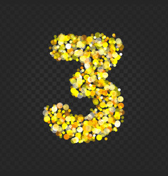 Gold glittering number 3t vector