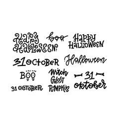 happy halloween handmade quotes trendy vector image