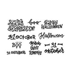 happy halloween set handmade quotes trendy vector image