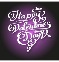 Happy Valentines Day lettering in heart vector