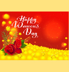happy womens day greeting card flowers red rose vector image