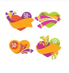 Heart stickers vector