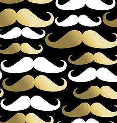 Hipster seamless pattern mustache man gold icon vector