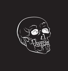 hipster skull hand drawn vector image