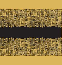 Horizontal reflection banner big city vector