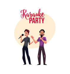 Karaoke party contest banner poster with two men vector