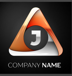 letter j logo symbol in the colorful triangle on vector image