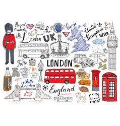 London city doodles elements collection hand vector