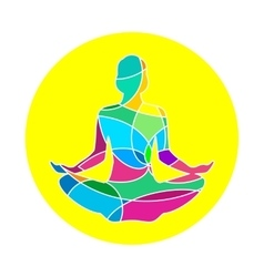 Lotus yoga pose icon abstract vector image