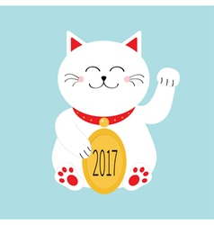 Lucky white cat sitting and holding golden coin vector image