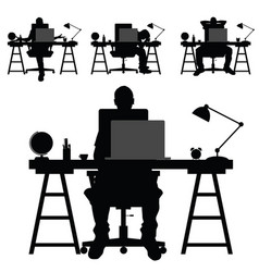 man silhouette work on laptop vector image