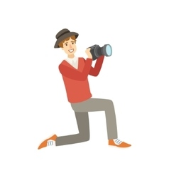Man Tourist Taking Pictures With Photo Camera vector