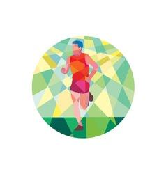 Marathon Runner Running Circle Low Polygon vector image