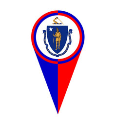 Massachusetts map pointer location flag vector