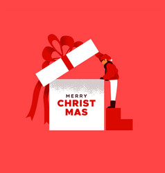 merry christmas card kid opening gift box vector image