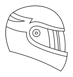Motorcycle helmet icon outline style vector image