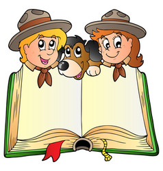 opened book with two scouts and dog vector image