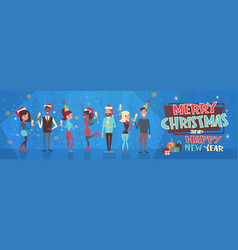 people celebrate merry christmas and happy new vector image