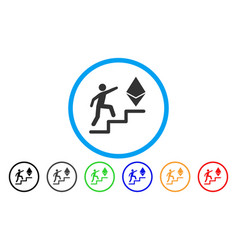 Person steps to ethereum rounded icon vector