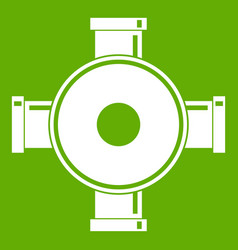 Pipe fitting icon green vector