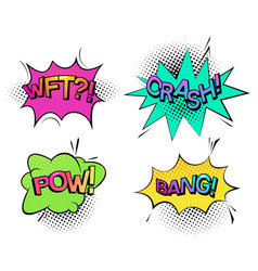pow sound and wtf comic bubble speech crash wtf vector image
