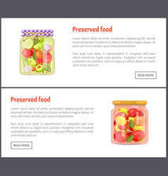 Preserved food in glass jars set icons vector