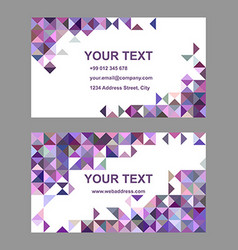 Purple riangle mosaic business card template vector image