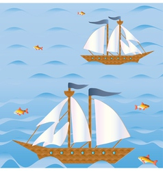 sailing vessels vector image